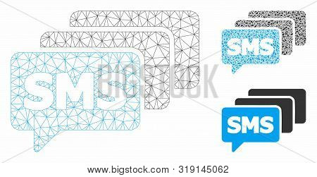 Mesh Sms Queue Model With Triangle Mosaic Icon. Wire Carcass Polygonal Mesh Of Sms Queue. Vector Mos