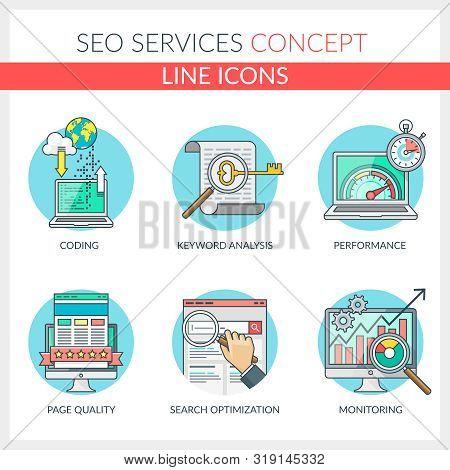 Seo Services. Set Of Color Line Concept Icons For Seo, Seo Optimization, Web Development, Web Optimi