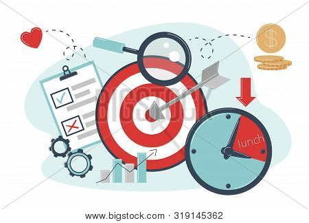 Time Targeting Concept. The Arrow Hit The Target. Advertising Settings For The Target Audience At Ce