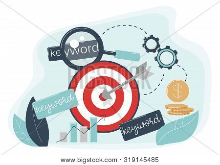 Keyword Targeting Concept. The Arrow Hit The Target. Advertising Settings For The Target Audience Fo