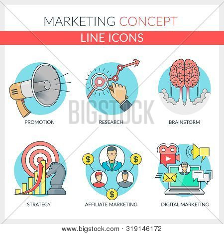 Marketing. Set Of Color Line Concept Icons For Marketing, Affiliate Marketing, Digital Marketing, Ma