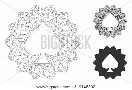 Mesh Spades Token Model With Triangle Mosaic Icon. Wire Frame Polygonal Mesh Of Spades Token. Vector