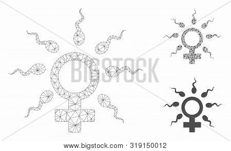 Mesh sperm fertilization model with triangle mosaic icon. Wire carcass triangular mesh of sperm fertilization. Vector mosaic of triangle parts in various sizes, and color tones. poster