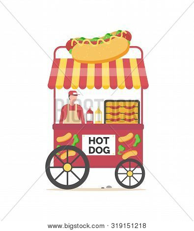 Hot Dog Business Vector, Person Selling Meal Bun With Sausage And Vegetables, Ketchup And Mustard. M