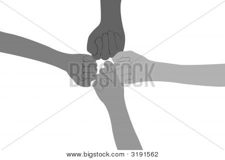 Four Fists Vector