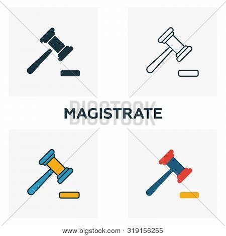 Magistrate Icon Set. Four Elements In Diferent Styles From Business Icons Collection. Creative Magis