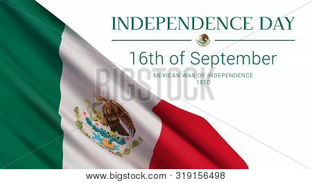 Independence Day Of Mexico. 16th Of September. Vector Banner Design Template With Flag Of Mexico, An