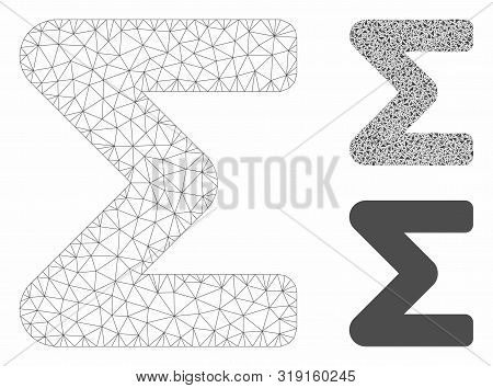 Mesh Sum Model With Triangle Mosaic Icon. Wire Carcass Triangular Mesh Of Sum. Vector Mosaic Of Tria
