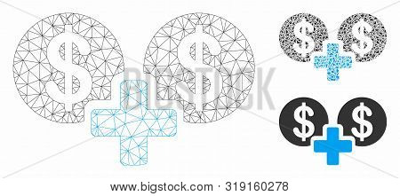 Mesh Sum Money Model With Triangle Mosaic Icon. Wire Frame Polygonal Mesh Of Sum Money. Vector Mosai