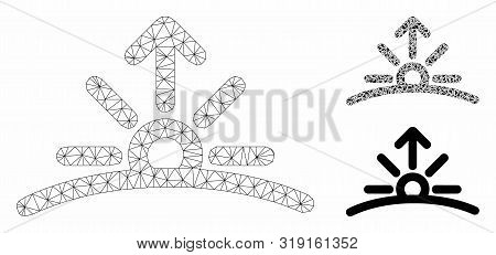 Mesh Sunrise Model With Triangle Mosaic Icon. Wire Frame Polygonal Mesh Of Sunrise. Vector Mosaic Of