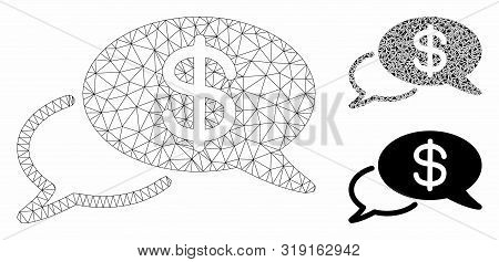 Mesh Swift Wire Transfer Model With Triangle Mosaic Icon. Wire Carcass Triangular Mesh Of Swift Wire