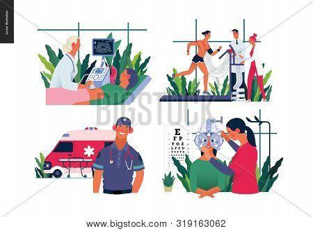 Set Of Medical Insurance - Ultrasonography, Ultrasound, Cardiac Stress Test, Ambulance Transport Eme