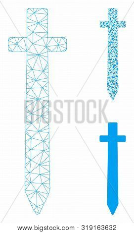 Mesh Symbolic Sword Model With Triangle Mosaic Icon. Wire Frame Polygonal Network Of Symbolic Sword.