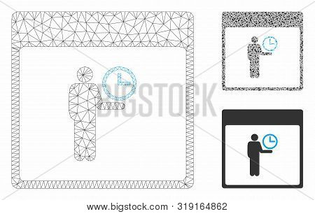 Mesh Time Manager Calendar Page Model With Triangle Mosaic Icon. Wire Carcass Polygonal Network Of T