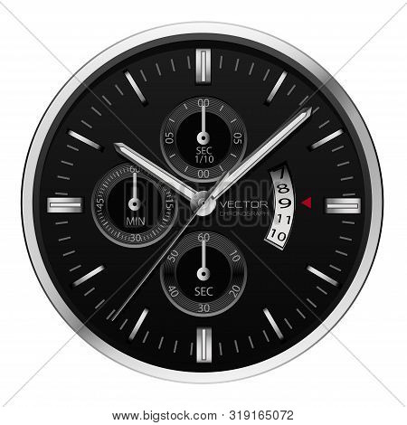 Realistic Black Silver Clock Watch Chronograph On White Background Vector Illustration.