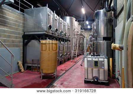 France Beaune 2019-06-20 Modern Wine Cellar, Factory With Large Metallic Clean Shine Stainless Steel