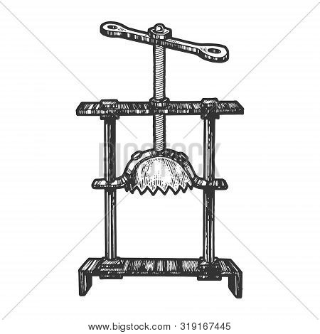 Head crusher medieval torture device sketch engraving vector illustration. Scratch board style imitation. Hand drawn image. poster