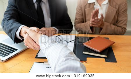 Businessman Employee Candidate Shaking Hands With Company Leader Hr Manager Or Boss In Office After