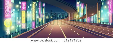 Night Metropolis Empty, Four-lane Highway, Freeway Road Illuminated With Restaurants, Hotel, Road An