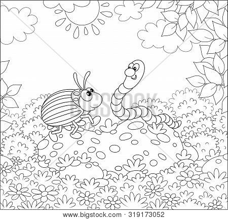 Striped Colorado Potato Beetle And A Funny Worm Friendly Talking On A Green Glade Of A Forest On A S