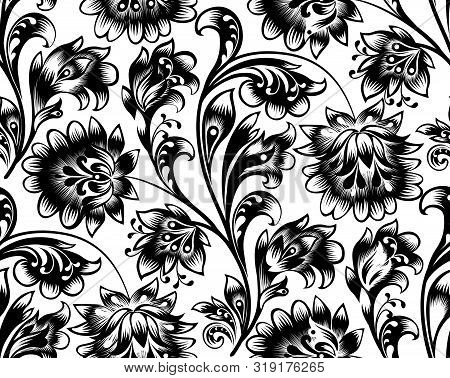 Floral Seamless Pattern. Flower Ornament. Ornamental Flourish Background In Traditional Folk Russian