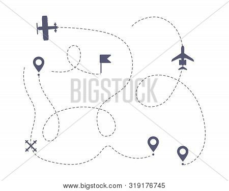 Airplane Line Path Vector Icons Of Air Plane Flight Route With Start Point. Travel, Trip Dashed Line