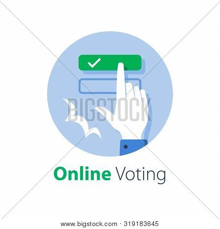 Online Voting, Complete E-form, Internet Education And Examination, Push Button With Hand Finger, Se