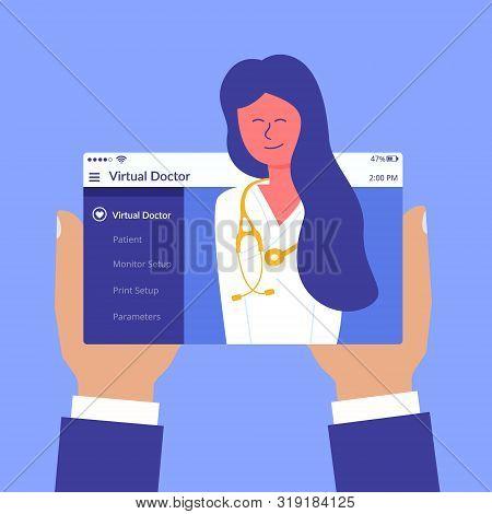 Advertising Flyer Inscription Virtual Doctor Flat. Mobile Device. Therapeutic Site. Joyful Happy Fem