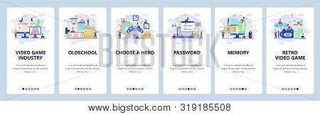Mobile App Onboarding Screens. Oldschool Video Games, Computer Hardware, Enter Password. Menu Vector