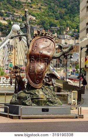 Andorra La Vella, Andorra : 2019 August 22 :  Andorra La Vella. People Walk In The Comercial Street