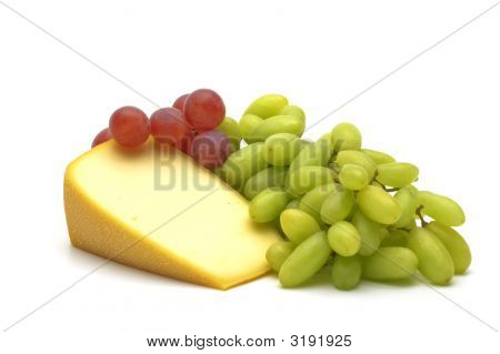 French gourmet dessert ingredients - cheese with grapes poster