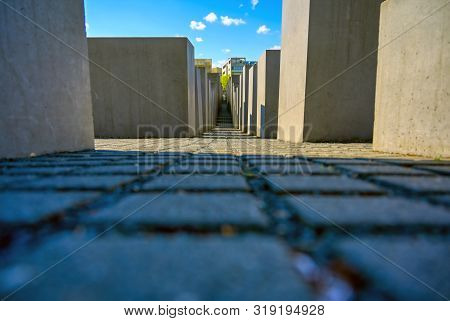 Berlin, Germany - May 5, 2019 - The Memorial To The Murdered Jews Of Europe, Also Known As The Holoc