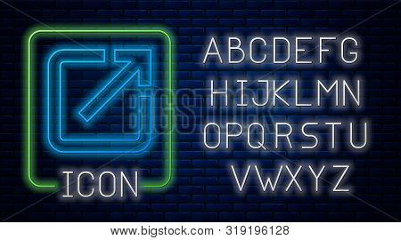 Glowing Neon Open In New Window Icon Isolated On Brick Wall Background. Open Another Tab Button Sign