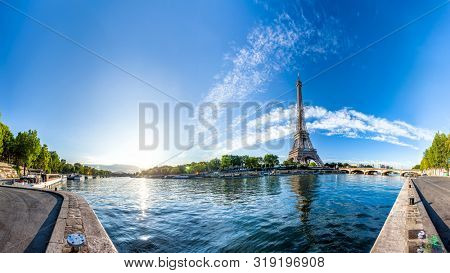 Scenic panorama of the Eiffel Tower and the riverside of Seine in Paris, France. 360 degree panoramic view