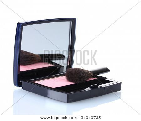 make-up blusher in box isolated on white poster
