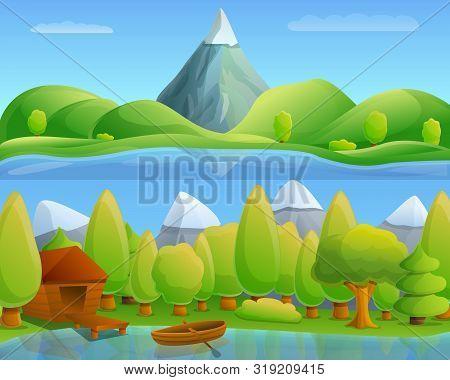 Mountain Lake Concept Banner. Cartoon Illustration Of Mountain Lake Vector Concept Banner For Web De