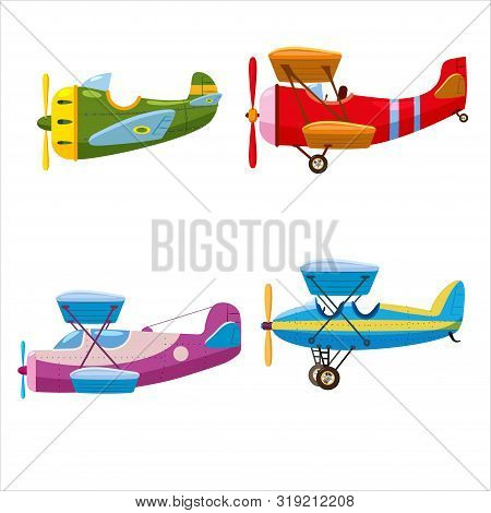 Set Of Airplanes Aircraft Different Colour. Retro, Personal, Speed, Biplane, Monoplane. Vector Isola