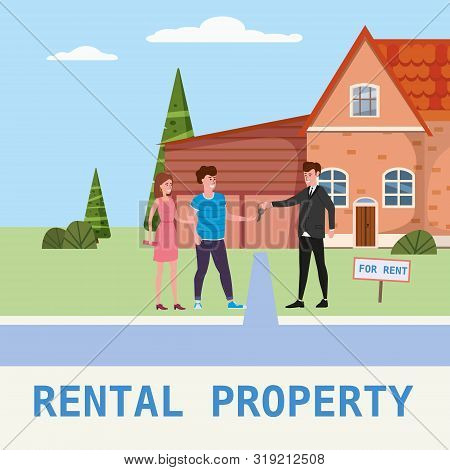 Real Estate Concept. House Rent Service. Modern Family Characters Rent New House Or Big Appartment S