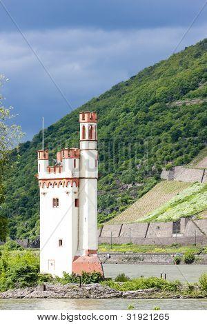 Binger Maeuseturm, Mouse Tower on Mouse Island, Rhineland-Palatinate, Germany