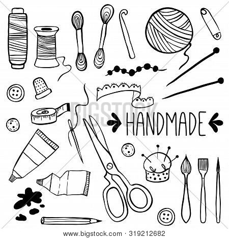 Handmade Kit Icons Set. Sewing, Needlework, Painting, Knitting. Arts And Crafts Hand Drawn Sketch Su