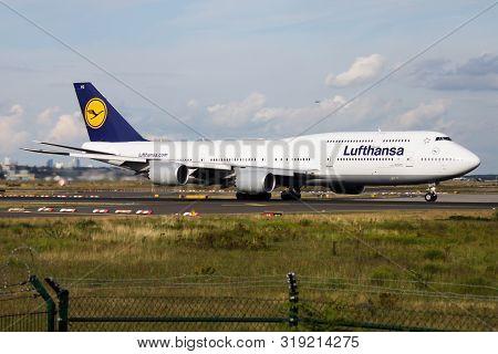 Frankfurt / Germany - August 16, 2014: Lufthansa Boeing 747-8 D-abyg Passenger Plane Departure At Fr