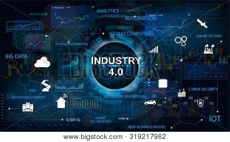 Industry 4.0 Concept Banner With Keywords And Icons. Interface With The Inscription Industry 4.0. Th