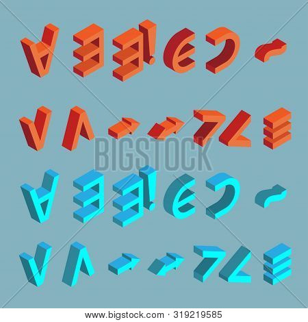 Set of logical symbols. Isometric quantifiers of red and blue colors on gray background poster