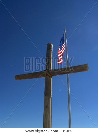 Large Wood Cross And Flag
