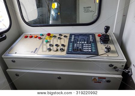 Orlando, Fl/usa-8/22/19: The Control Panel To Move The Jetway Out To The Airplane After Arrival And