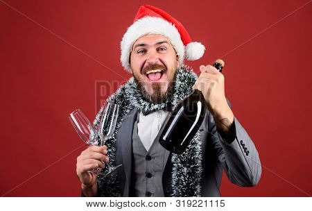 Lets Drink Champagne. Boss Santa Hat Tinsel Celebrate New Year Or Christmas. Christmas Party Invitat