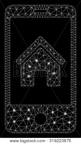 Glossy Mesh Smartphone Homepage With Glow Effect. Abstract Illuminated Model Of Smartphone Homepage