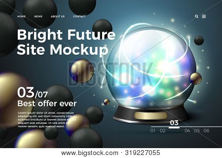 Vector Realistic 3d Fortune Teller Cristall Ball On Modern Site Template With Typographic Background