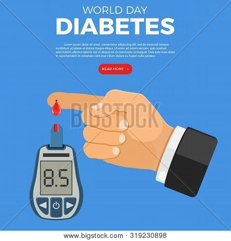 Blood Glucose Meter And Finger With Blood Drop. Sugar Level Testing, Treatment, Monitoring And Diagn