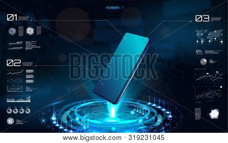 Technology Hologram With Smartphone Blank. Hud Interface On Mobile Telephone. 3d Isometric Mobile Ph